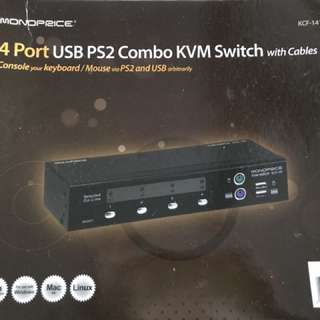 4 port USB PS2 Combo KVM Switch with cables
