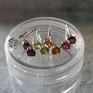 Multi-Colour Gemstones Ear stub 925 Silver
