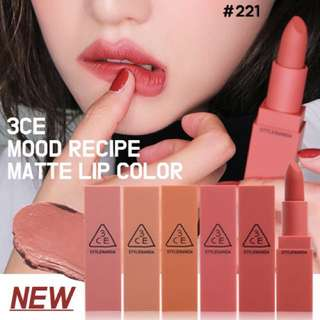 3CE **NEW** mood matte line
