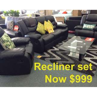 Brand New Recliner Set (3 Seater+1 Seater+1 Seater)  NOW $999