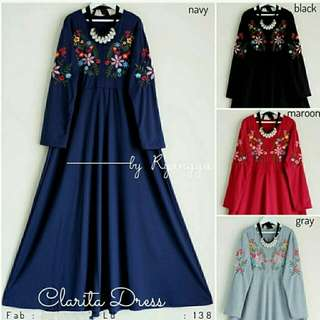 Clarita dress rw  bhn Katun asli Plus Bordir ori, Sleting Depan Lebar rok 180cm, pnjg 136cm LD98cm