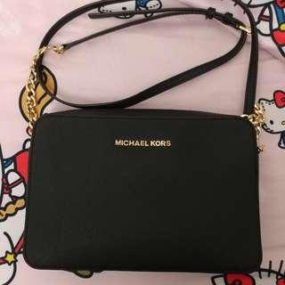 MK 牛皮十字纹黑色手袋