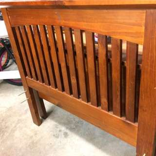 Wooden single bed w/mattress, bedside and chester drawers