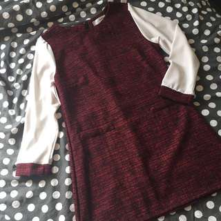 NEW全新Red Black Tweed Long Top 韓款紅黑長身上衣