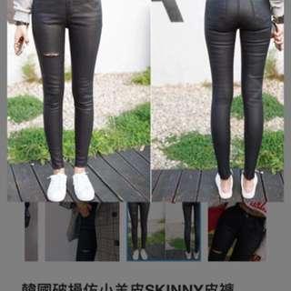 韓國破損仿小羊皮SKINNY皮褲