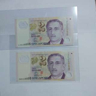 Sg $2 fancy number 8888 lot of 2 pcs