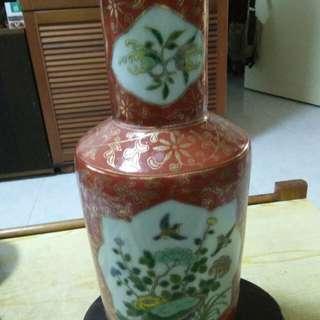 老花瓶一尺高栅瑚红花鸟图