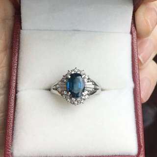 Sapphire Diamond Ring. S1.12ct D0.19ct. Pt900. Size 9. Worn twice. Questions welcome