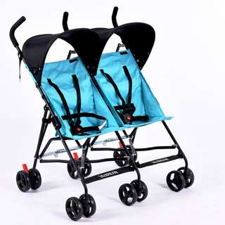 Twin Buggy Umbrella Stroller (BLUE)
