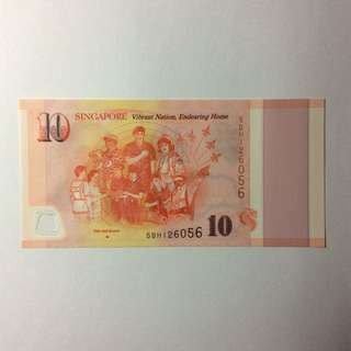 5BH126056 Singapore Commemorative SG50 $10 notes