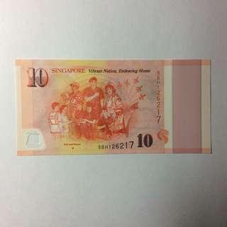 5BH126217 Singapore Commemorative SG50 $10 note.