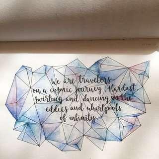 Calligraphy piece + watercolour