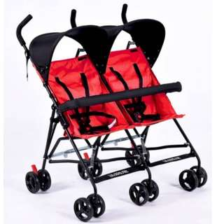 Twin Buggy Umbrella Stroller (RED)