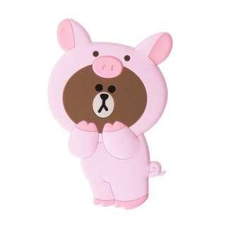 🚚 韓國帶回LINE FRIENDS正品小豬叢林系列造型布朗熊大BROWN隨身攜帶鏡子