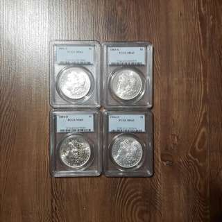 PCGS MS63 Morgan silver dollars