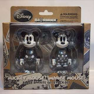 Medicom Mickey Mouse & Minnie Mouse BE@RBRICK (Black & White Ver.) 100% Box Set Bearbrick