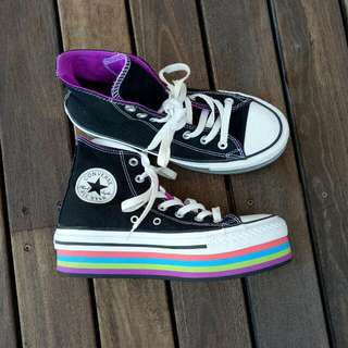 Platform Black And Rainbow Converse