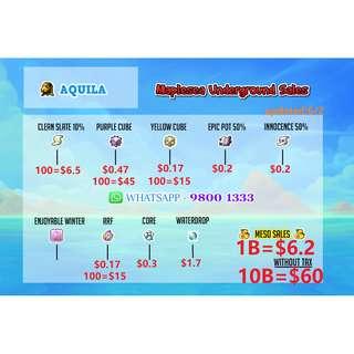 Maplesea Maplestory Aquila Meso / PC / YC / RRF / CSS / @cash / Equips/ unique svc / legend service