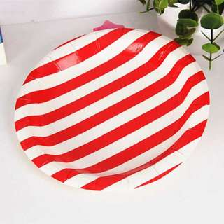 Red and White Stripes Party Paper Plates