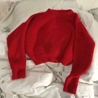 Misspap uk red cropped sweater