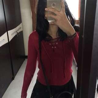 H&M maroon tied top