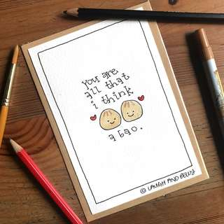 Hand-Drawn Card: You Are All That I Think A Bao (About)