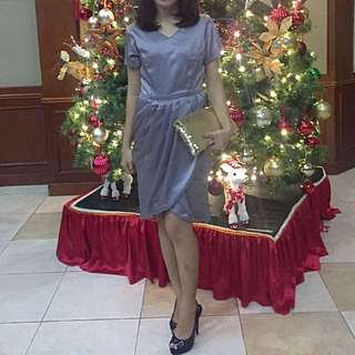 Satin Dress Grey