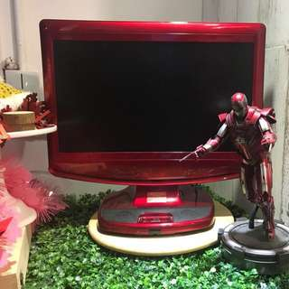 激罕有 Irionman (紅) ,99成新,22吋 超薄 LG  TV & Mon, 100%操作正常,內置DVD Rom可睇戲,有搖控,有HDMI 可打PS4,有VGA可作電腦Mon用,有內置立體聲喇叭