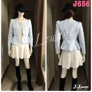 J656 全新正韓小香風淺藍西裝外套入秋mix&match多層次混搭婚禮貴婦名媛J-Lounge blazer