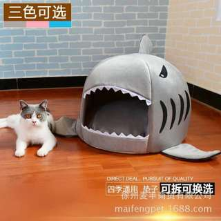 Multi Functional Kennel Pet Tent House Bed Shark Charcter
