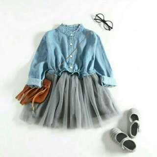 BESSKY Girls Denim Dress