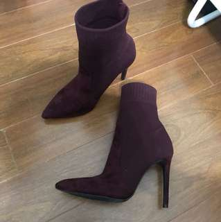 Call it spring burgundy sock boots