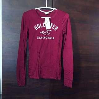 包郵 💌 hollister tee top 酒紅色 長袖上衣