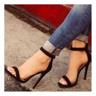Black Faux Suede Open Toe Ankle Strap High Heel Sandals