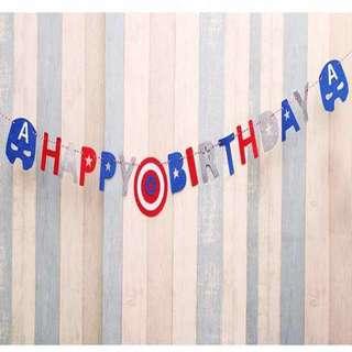 Captain America Happy Birthday Party Banner