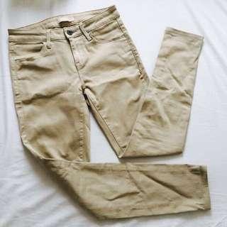 Uniqlo Khaki Skinny Jeans Long 杏色 卡其色女裝長褲 有褲袋 彈性