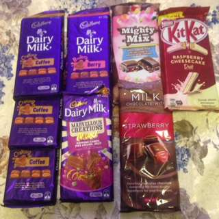 Cadbury dairy milk and kitkat bar