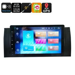 BMW 5 Car Media Player - 9 Inch Screen, 4+32GB, Octa Core, Can Bus, Android 6.0, 3G, 4G, Wi-Fi, Bluetooth (CVAIO-C600)