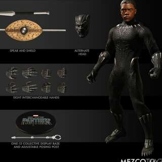 "訂10月MEZCO 1/12 COLLECTIVE Black Panther 黑豹6""1款"