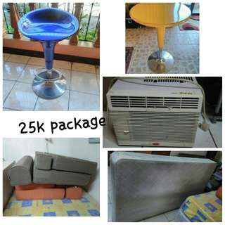 Aircon,2chair,sofa bed and double bed