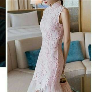 Cheongsam Pink Lace Dress