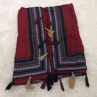 Wide tassel pashmina- deep red