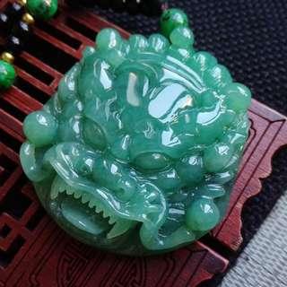 翡翠A貨完美種好水潤細膩滿色滿綠龍頭牌吊墜特惠包郵順豐,配送證書,編號0294