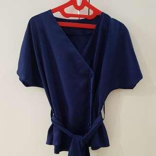 Atasan kimono navy fit to LD 100cm