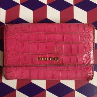 ❤️🈹 MIU MIU wallet 粉紅鱷魚紋銀包