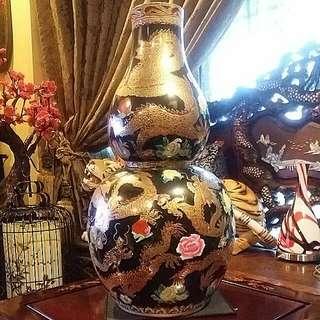 Vintage Porcelain  Vase With Golden Dragons