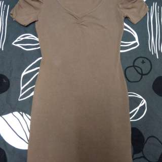 Brown Fitted Casual Dress