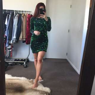 Motel Rocks Green Sequin Dress