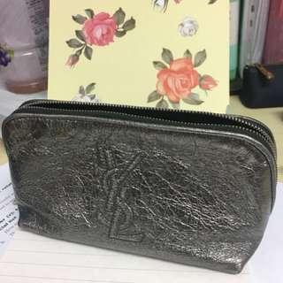 YSL silver leather cosmetics bag
