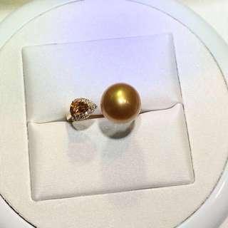18K金鑲鑽珍珠戒指